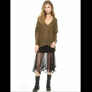 Free people Sadie v pullover sweater in olive.